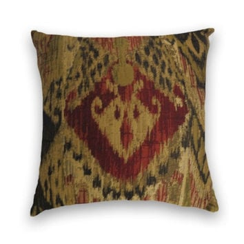 Woven IKAT Decorative Pillow Cover  20 x 20 Throw Pillow Cover  Burgundy Black Green Sand