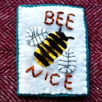 Bee Nice patch. Honeybees. Bumblebee patch. Bee accessories. Vegan patch. Eco-feminist patch. Bee patch. Honey bee patch. Eco-friendly patch
