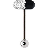 Clear Coat Black Ferido Crystal Pill Barbell Tongue Ring | Body Candy Body Jewelry