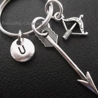 Native American, Arrow, Bow, keychain, keyring, bag charm, monogram personalized custom gifts choose your initial style item No.457