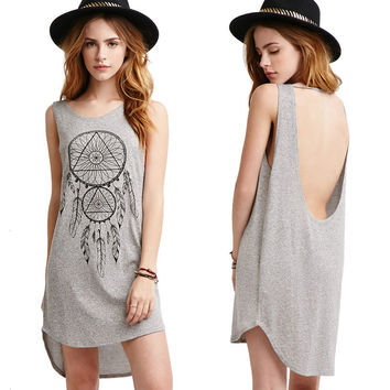 Sexy Backless Totem Print Strong Character Sleeveless Vest One Piece Dress [4915011588]