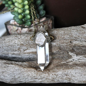 Clear Quartz Necklace, Druzy Jewelry, Boho Chic Festival Fashion, Bridesmaid Gift for Her, Crystal Necklace, Bohemian Jewelry, Gypsy Jewelry