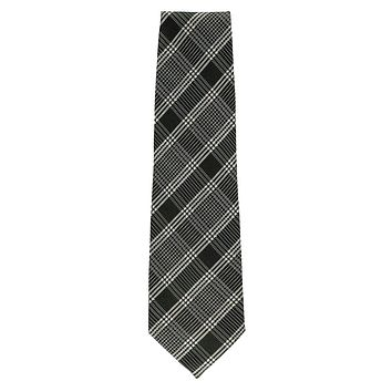 Tom Ford Men Black Grey 100% Silk Glen Check Patterned Classic Tie