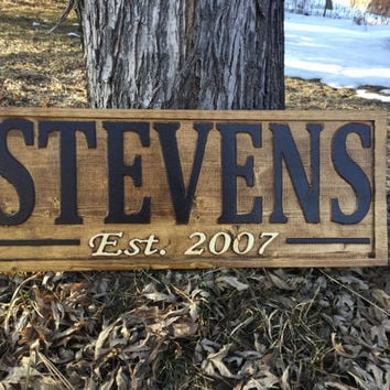 Family Name Sign established sign personalized last name sign wedding gift personalized sign anniversary gift wood sign personalized family