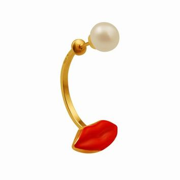 DELFINA DELETTREZ RED MOUTH AND PEARL SINGLE EARRING - WOMEN - DELFINA DELETTREZ - OPENING CEREMONY