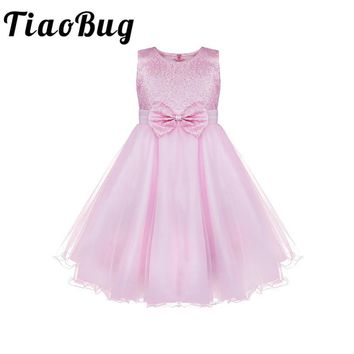TiaoBug Kids Infant Girls Flower Tutu Lace Dress Floral Girl Dress Ball Gown Prom Formal Dress for Party and Wedding Bridesmaid