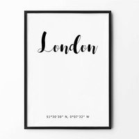 London Coordinates Print, Typography Wall Art, Scandinavian Poster, Home Wall Decor, City Coordinates