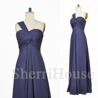 One-shoulder Strapless A-Line Longt Bridesmaid Celebrity dress ,Floor lengthChiffon Evening Party Prom Dress Homecoming Dress