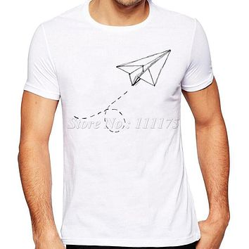 Summer Fashion Paper Airplane Printed T Shirt Men's Cool Design Tops Custom Hipster Tees