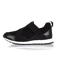 Black slip on sneakers - plimsolls / sneakers - shoes / boots - women