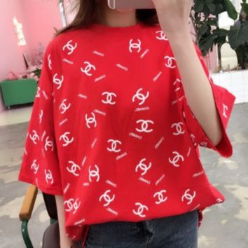 Chanel 2018 spring and summer round neck loose t-shirt female alphabet printed short sleeve Red