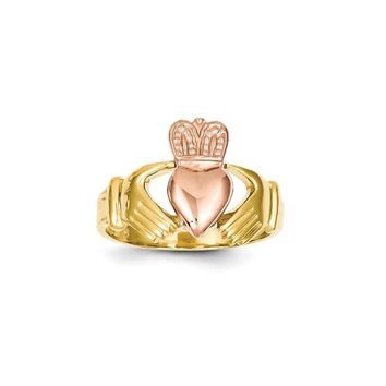 14k Men's Two-Tone Gold Claddagh Ring