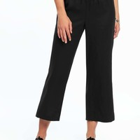 Linen-Blend Wide-Leg Soft Pants for Women | Old Navy