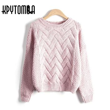 Winter Plaid Thick Loose Sweaters Women 2018 New Fashion Autumn O Neck Long Sleeve Knitting Mohair Pullover Casual Pull Femme