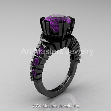 Modern 14K Black Gold 3.0 Ct Amethyst Solitaire Wedding Anniversary Ring R325-14KBGAM