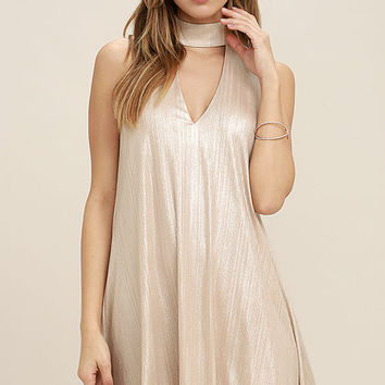 JOA Into the Light Champagne Shift Dress