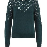 New Look Mobile | Dark Green Pointelle Yoke Jumper