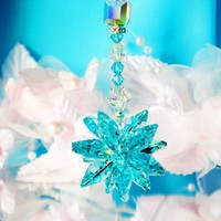 Rear View Mirror Charm Turquoise Blue Crystal Car Charms