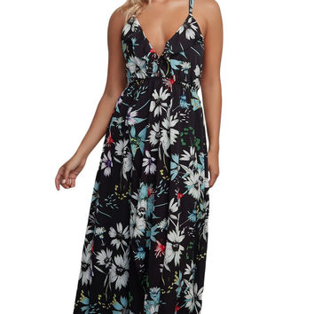 Black Criss-Cross Straps Backless Chiffon Floral Maxi Dress