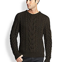Ralph Lauren Black Label - Cable-Knit Crewneck Sweater - Saks Fifth Avenue Mobile