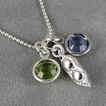 Two Peas in a Pod Necklace - Swarovski Birthstones - Silver - Custom Necklace - Two Birthstones - Family - Gift Idea Mom, Grandma