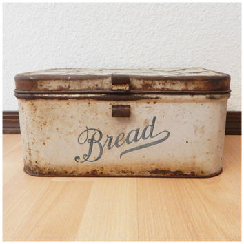 Antique 40's Metal Off-White Bread Box Empeco Embossed Lid Air Holes Tin Rustic Farm Decor