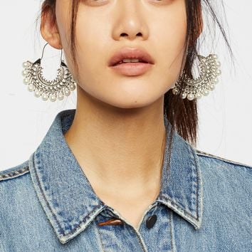 Free People Pearl Stoned Hoops