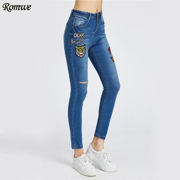 High Waist Ripped Skinny Jeans Women Blue Patch Casual Denim Cropped Pants Autumn Bleached Cut Out Sexy Pencil Jeans