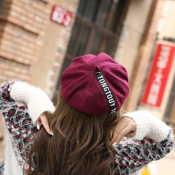 sterbakov Fashion brand felt hat beret women's hat leather feather beret hat girl beret knit girl spring and autumn ladies