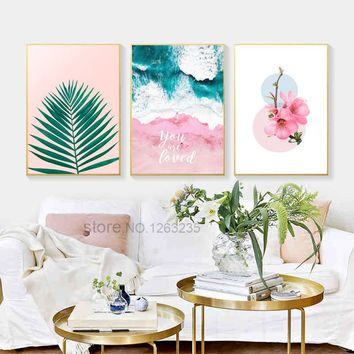 Pink Peach Blossom Nordic Poster Sea Leaf Wall Art Canvas Painting Posters And Prints Wall Pictures For Living Room Unframed