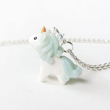 Blue Mini Unicorn Charm Necklace