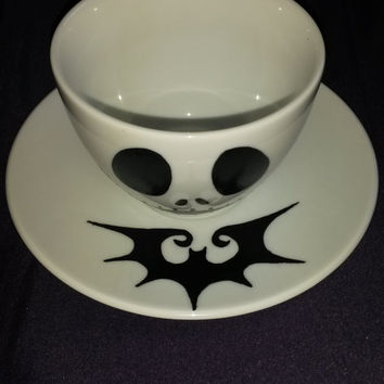 Jack Skellington Nightmare Before Christmas Handpainted Cup and Saucer Set