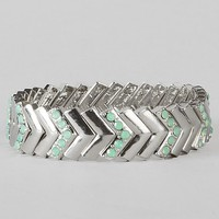 Women's Chevron Bracelet in Green/Silver by Daytrip.