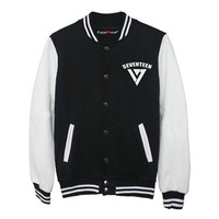 Fanstown Seventeen kpop baseball jacket hoodie with lomo cards
