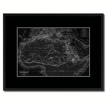 Ancient Africa Vintage Monochrome Map Canvas Print, Gifts Picture Frames Home Decor Wall Art