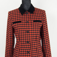 Vintage Windsmoor Womens Check Tartan Tweed Wool Ladies Blazer Velvet Collar 12