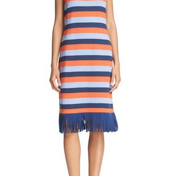 Tory Burch 'Ariana' Fringe Hem Stripe Tank Dress | Nordstrom