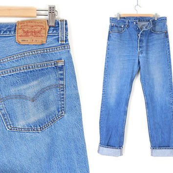 Vintage 80s Distressed Levi's 501 Button Fly Men's Jeans - 34 x 34 - USA Made Faded Stone Wash Blue Denim Straight Leg Boyfriend Jeans