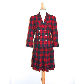 PENDLETON Skirt Suit Set . Tartan Red Plaid . Wool Pleated . size 6