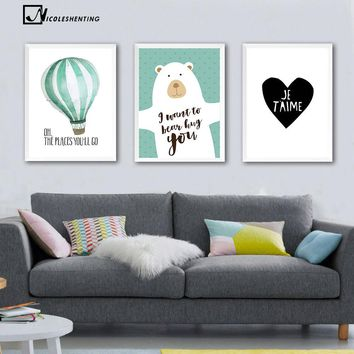 Nordic Art Cartoon Bear Balloon Canvas Poster Minimalist Painting Funny Wall Picture Print Modern Children Room Decoration 303