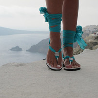 Women sandals with interchangeable silk scarf laces, Bridal sandals, Wedding flats. Fully Customizable. Sophia 01.NEW