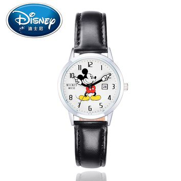 Disney Children Watch Kids Watches Leather Women Ladies Quartz Watches Fashion Female Mickey Genuine Brand Casual Gift Box