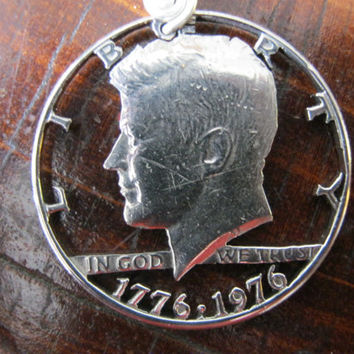 JFK Hand Cut Coin por InterlockingQuarters en Etsy