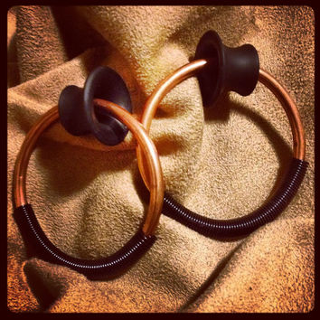 "Gaboon Ebony Mayan Flare Plugs with 6g Copper Hoops - Black Coil Closure - 00g to 2""- Gauges"