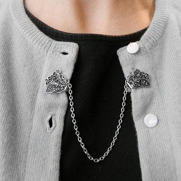 Evelots Chain Style Sweater Collar Shawl Clip - Assorted Colors & Styles