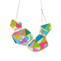 Geometric Handmade Leather Statement Necklace, Modern Design with Rainbow Leather | Boo and Boo Factory - Handmade Leather Jewelry