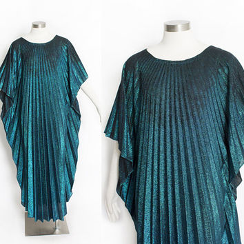 Vintage 1970s Caftan - METALLIC Lurex Blue Pleated Disco Maxi Dress 70s - OSFM
