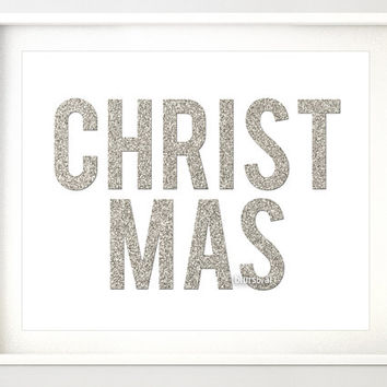 Glitter Christmas printable decor. Christmas silver glitter typography art, holiday decor, silver Christmas decor, silver glitter word -pp94