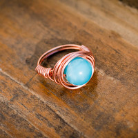 Blue Glass Wire Wrapped Ring
