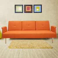 Dark Orange 3-Seat Fabric Sofa Bed